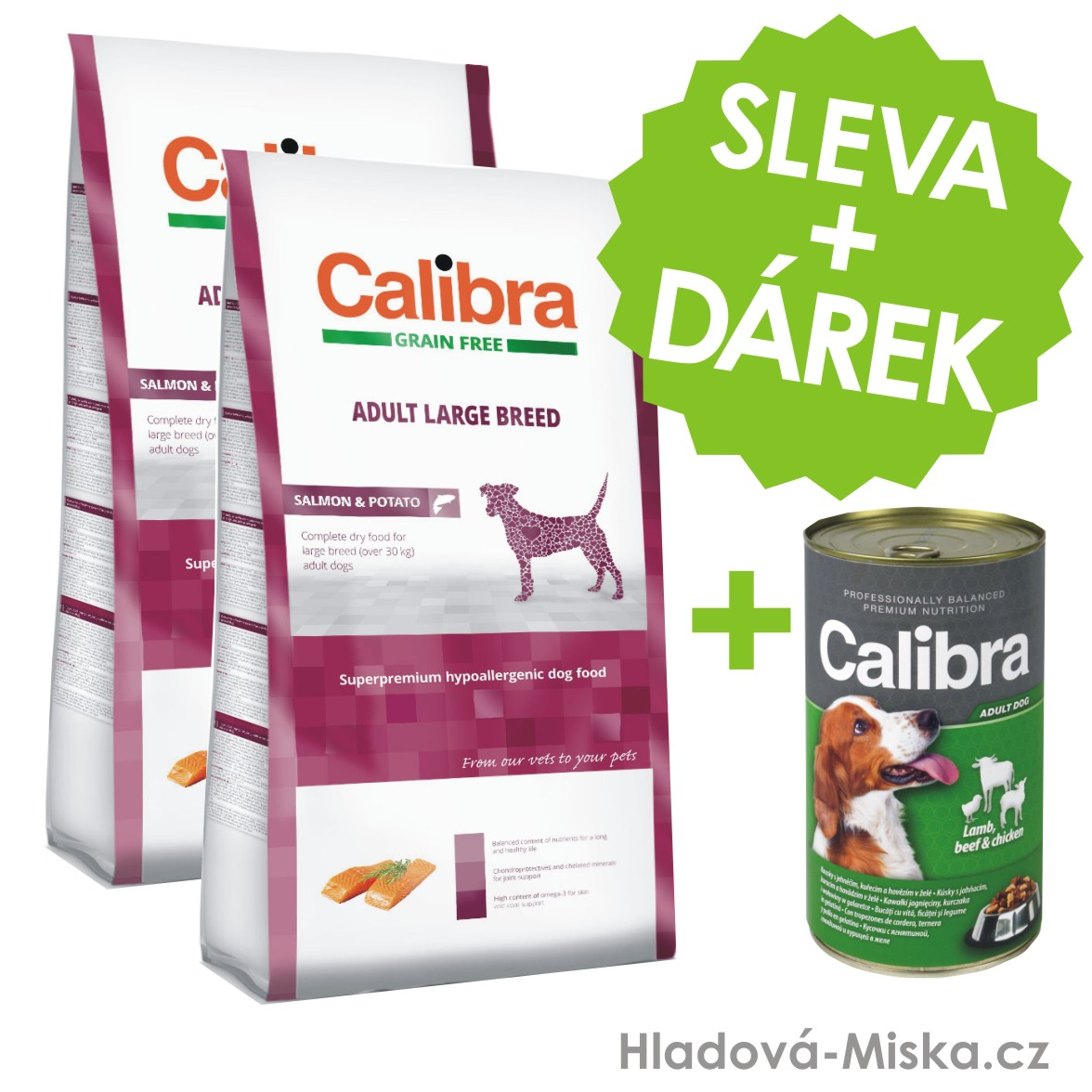 Calibra Dog GF Adult Large Breed Salmon 2x12kg +ZDARMA konzerva 1240g