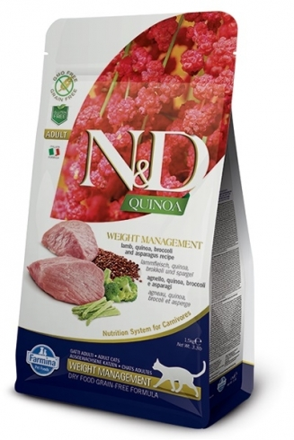 N&D GF Quinoa CAT Weight Mngmnt Lamb & Broccoli 300g
