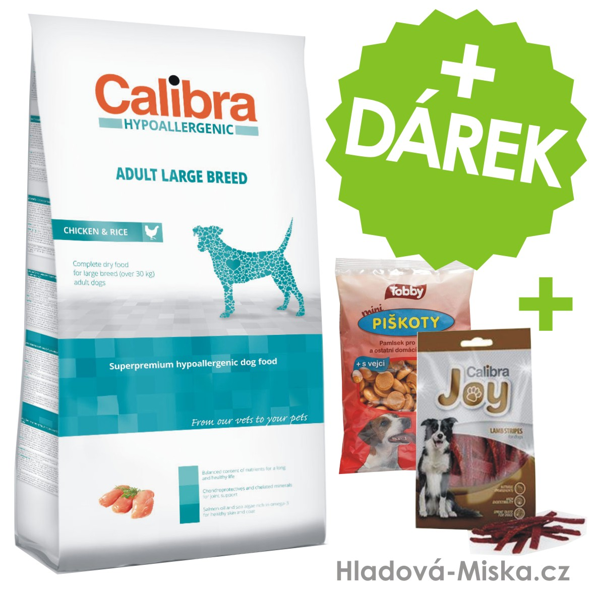 Calibra Dog HA Adult Large Breed Chicken  14kg +ZDARMA masové pamlsky a piškoty