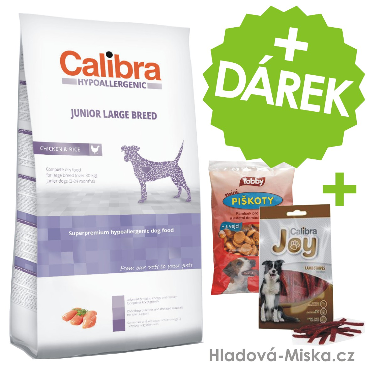 Calibra Dog HA Junior Large Breed Chicken  14kg +ZDARMA masové pamlsky a piškoty