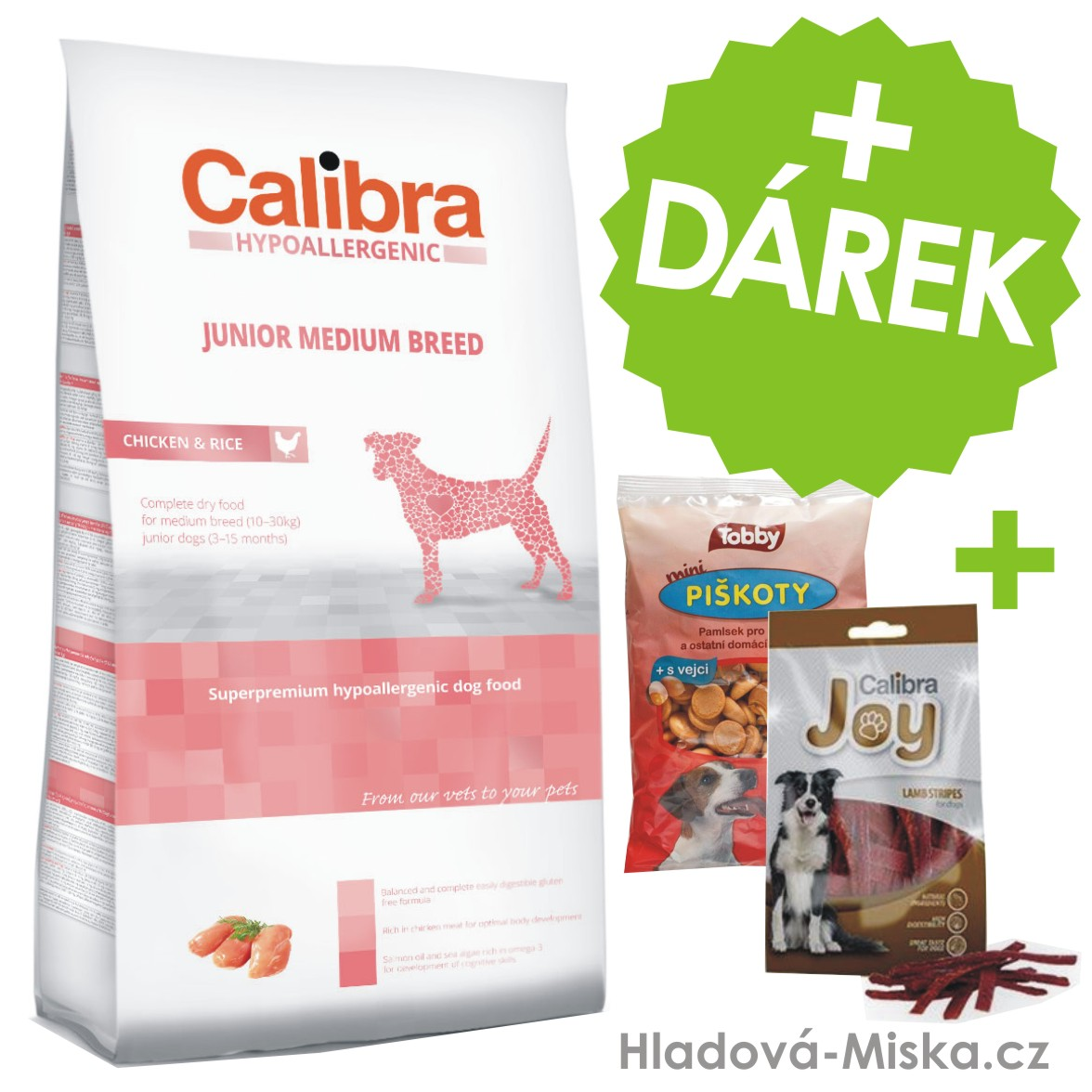 Calibra Dog HA Junior Medium Breed Chicken 14 kg+ZDARMA masové pamlsky a piškoty