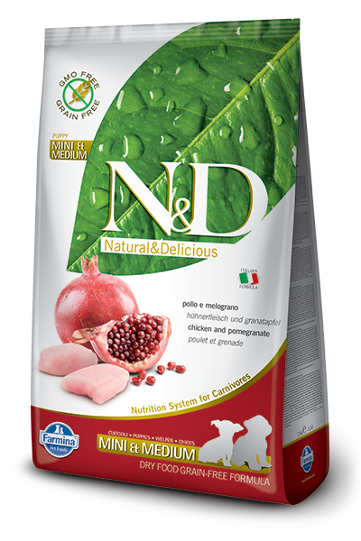 N&D GF DOG Puppy S/M Chicken & Pomegr 12kg