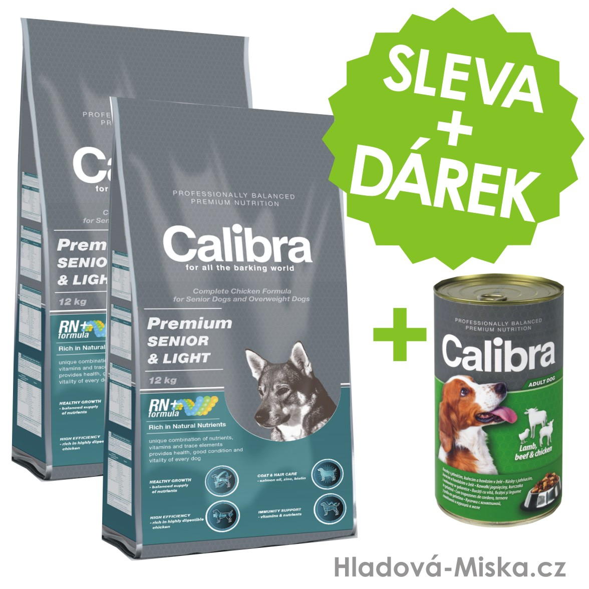 Calibra dog Premium SENIOR & LIGHT 2x12 kg + ZDARMA konzerva Calibra!