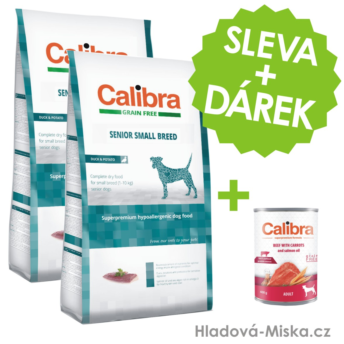 Calibra Dog GF Senior Small Breed Duck 2x7kg +ZDARMA konzerva