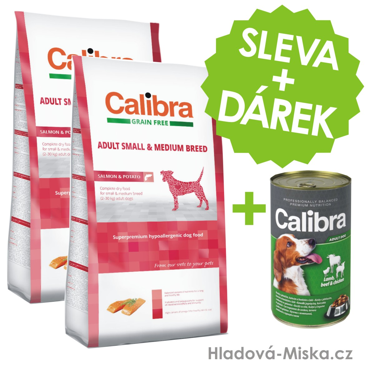 Calibra Dog GF Adult Medium & Small Salmon 2x12kg +ZDARMA konzerva 1240g