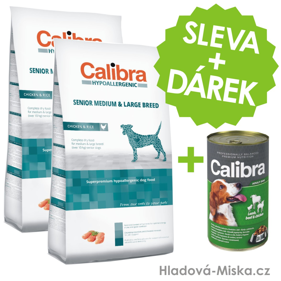 Calibra Dog HA Senior Medium & Large Chicken 2x14kg +ZDARMA konzerva 1240g
