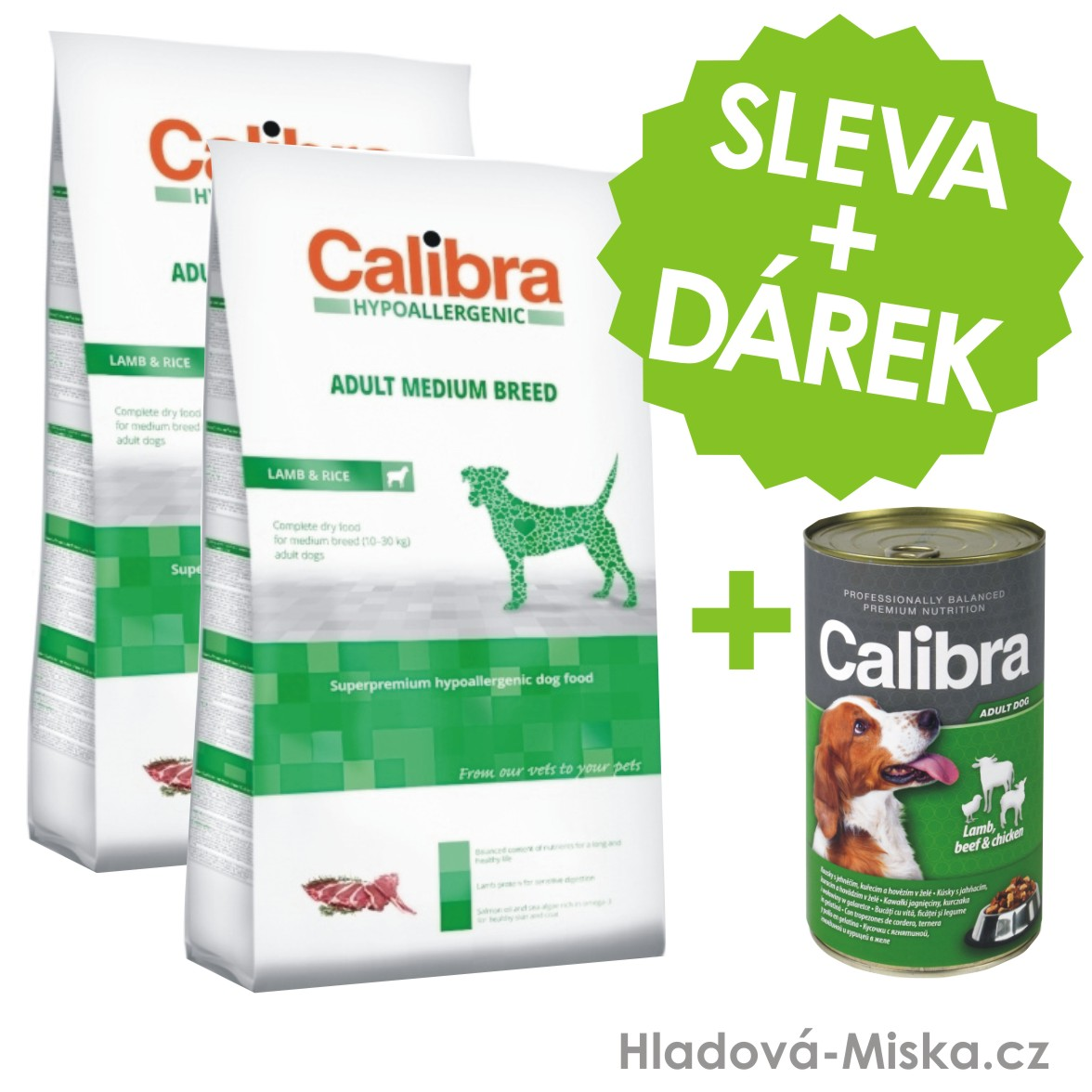 Calibra Dog HA Adult Medium Breed Lamb 2x14kg +ZDARMA konzerva 1240g