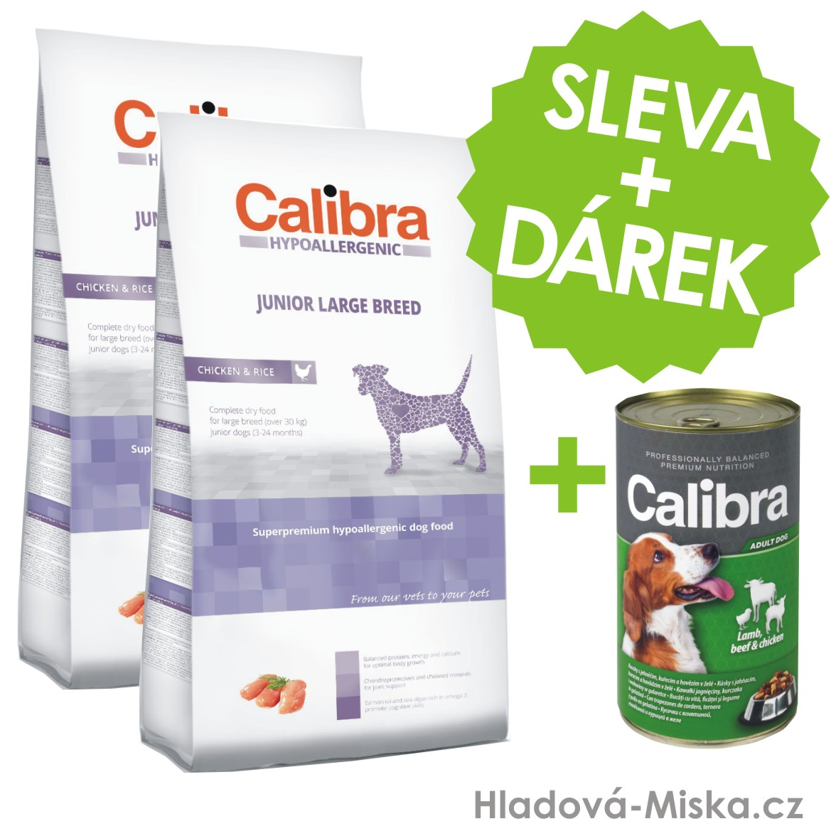 Calibra Dog HA Junior Large Breed Chicken  2x14kg +ZDARMA konzerva
