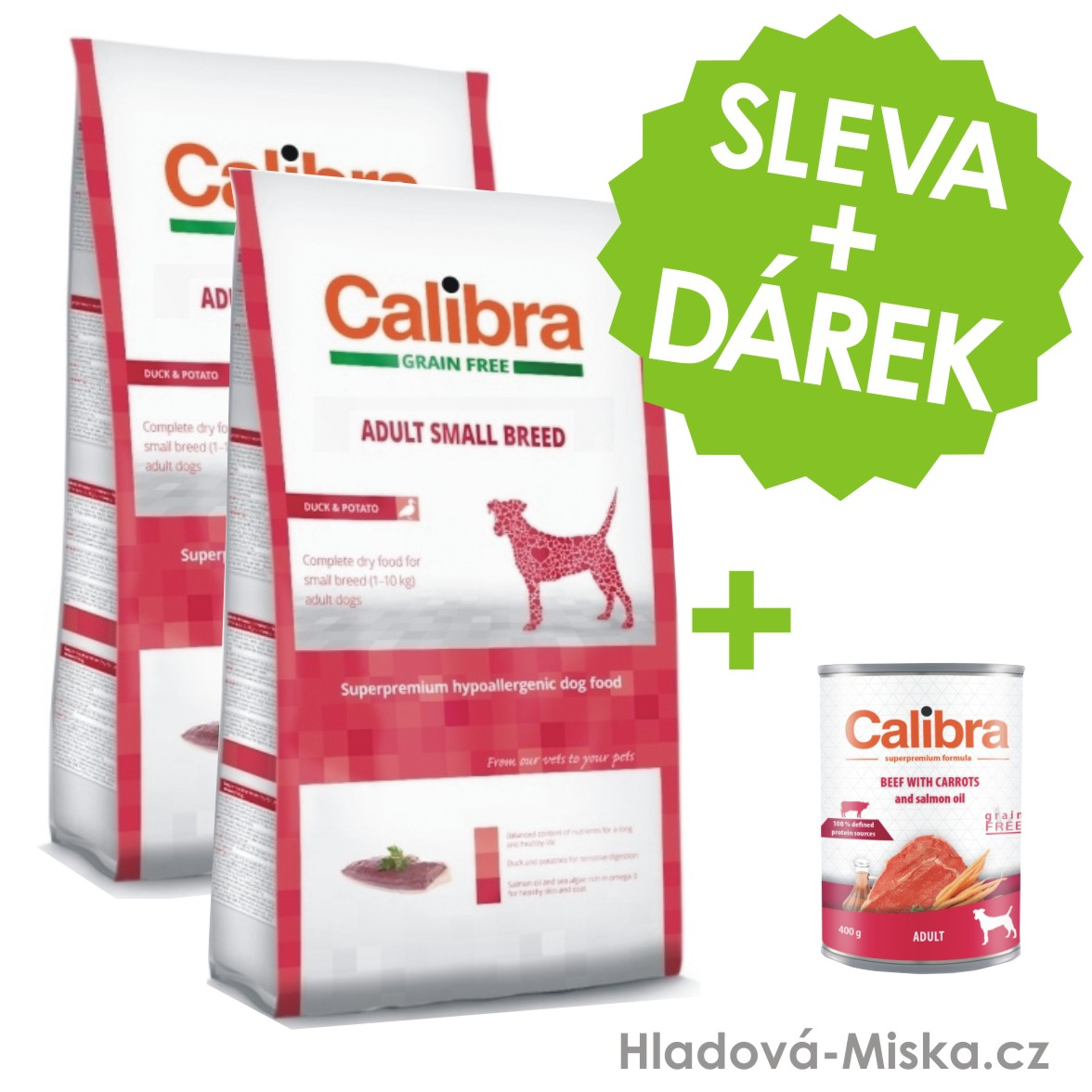 Calibra Dog GF Adult Small Breed Duck 2x7kg +ZDARMA konzerva
