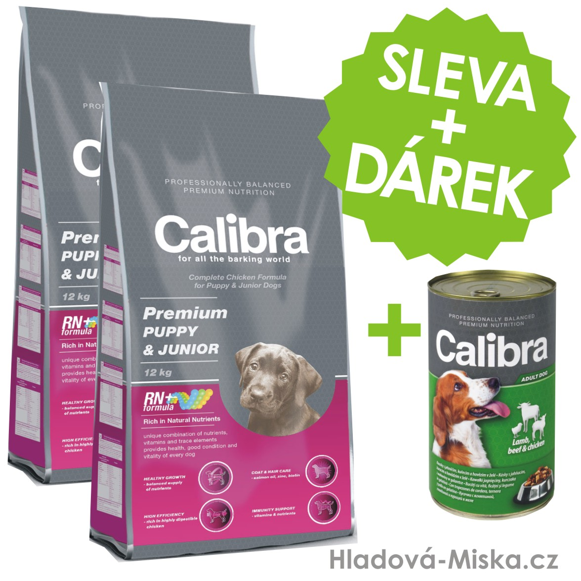 Calibra dog Premium PUPPY & JUNIOR 2x12 kg + ZDARMA konzerva Calibra!