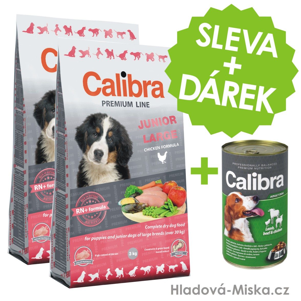 Calibra Dog Premium Line Junior Large 2x12kg + ZDARMA konzerva Calibra