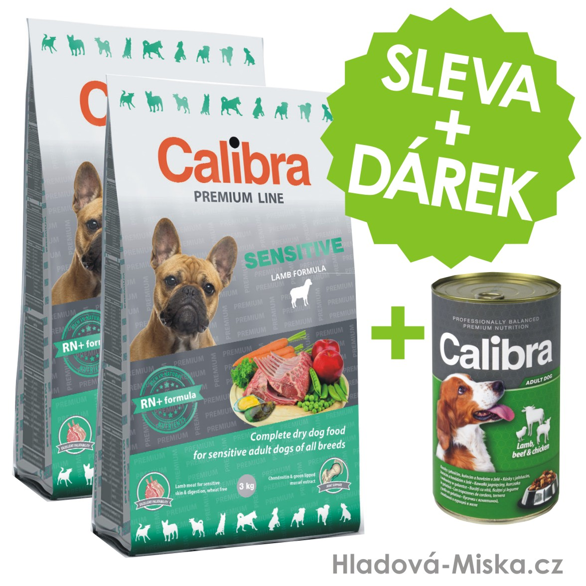 Calibra Dog Premium Line Sensitive 2x12kg + ZDARMA konzerva Calibra