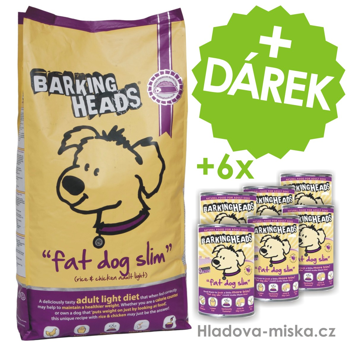 BARKING HEADS Fat Dog Slim 12kg + ZDARMA 6x konzerva!