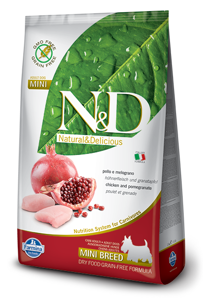 N&D GF DOG Adult Mini Chicken&Pomegranate 800g